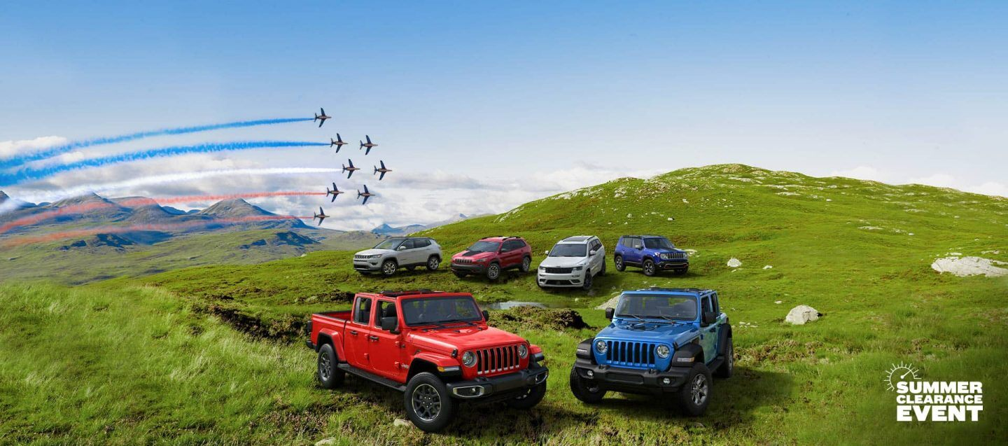 The 2020 Jeep® Brand lineup, left to right: Cherokee, Compass, Wrangler, Gladiator, Grand Cherokee and Renegade.