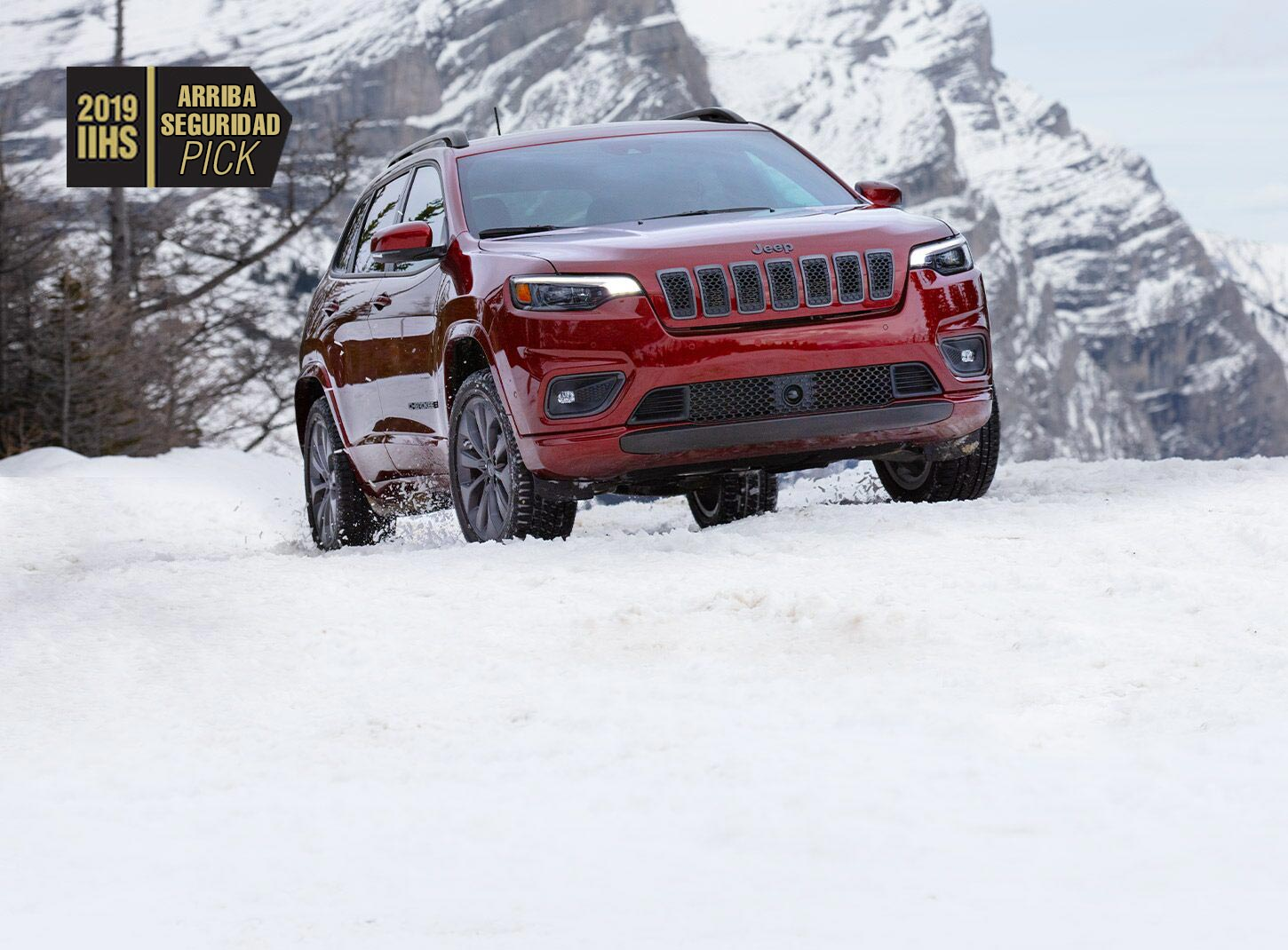 The 2019 IIHS Top Safety Pick logo and the 2019 Jeep Cherokee.